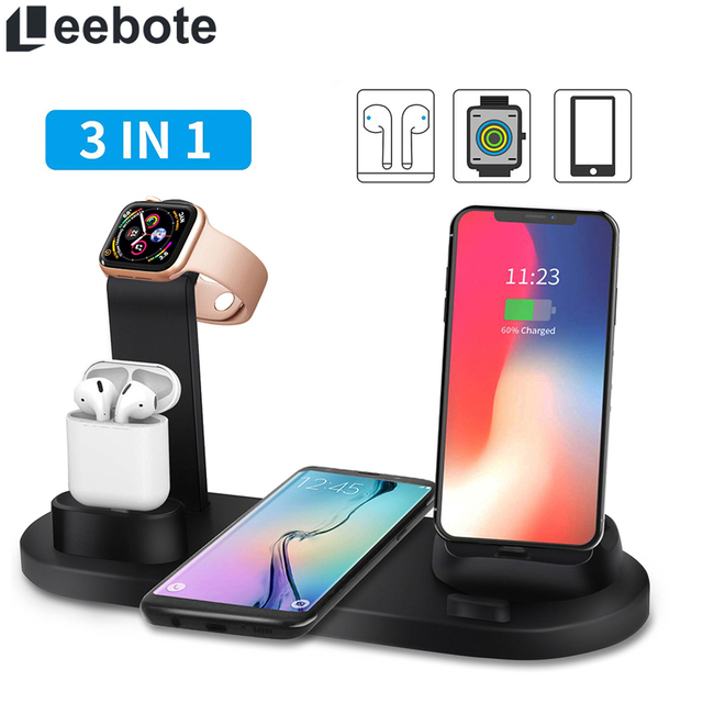 Qi Wireless Charger Dock Station Stand for iPhone Airpod 3 in 1 USB Charging Station for iWatch iPhone 11 for iPhone 8 XR XS Max