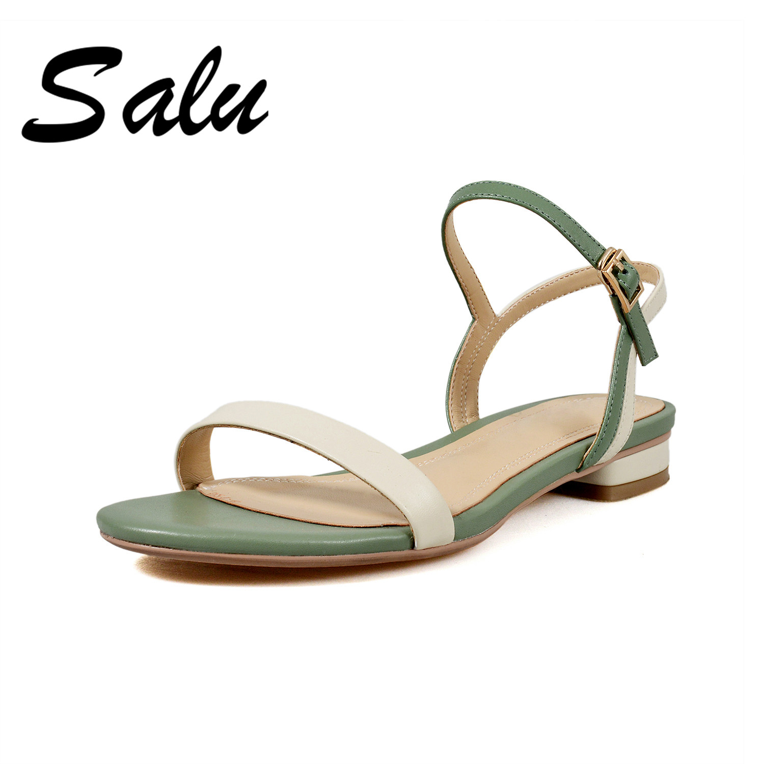 Salu sandalia feminina 2019 genuine leather women sandals woman flip flops low heels women shoes summer comfortable slipperSalu sandalia feminina 2019 genuine leather women sandals woman flip flops low heels women shoes summer comfortable slipper