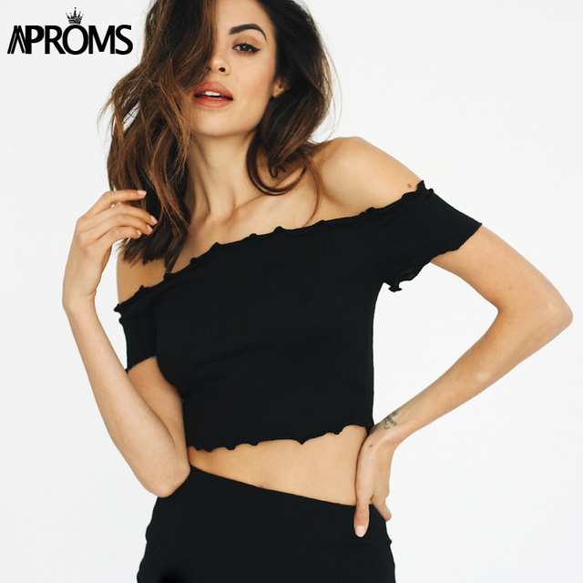 2207d3f34fe Aproms Off shoulder Black Crop Top 90's Girls Casual Ruffles Knitted  Elastic Tops Streetwear Tank Top Cropped Tops Pink Bralet
