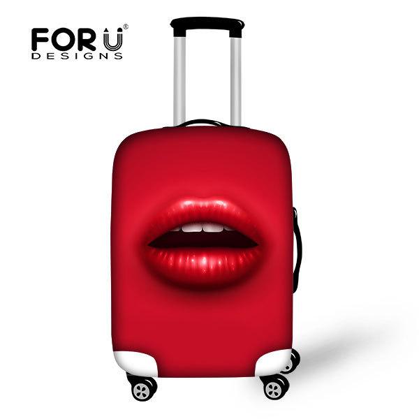 2015 Hot Sale Da Moda Sexy Lábios Vermelhos Acessórios de Viagem Bagagem Proteger das Mulheres Definido Para 26 ''-30'' caso Cobertura De Viagem Para Mala de viagem