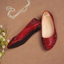 2016 neue Ankunft Rot Strass Braut Flache Schuhe Aus Echtem Leder Handgefertigt Kristall Frauen Hochzeit Schuhe Partei Kleid Schuhe