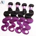 Dos Tnoe Púrpura Ombre 7A Onda Del Cuerpo Humano Virginal Brasileño Paquetes Armadura del pelo Ombre Púrpura Color de la Virgen Brasileña del Cuerpo del pelo onda