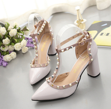 women High-Heeled Shoes Fashion pointed Rivet shoes Wedding Pumps 2018 Spring Valentine square toe Elegant lady Leather shoes