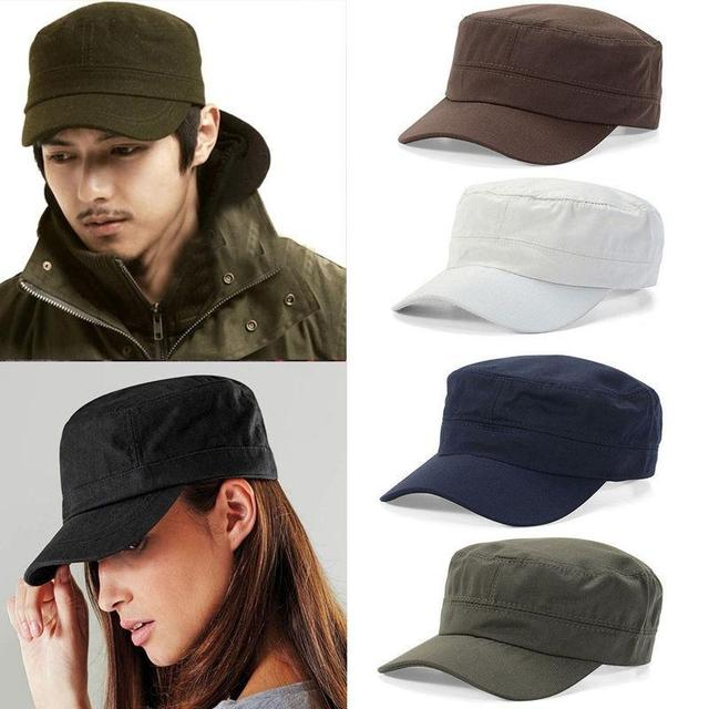 ce01d47a91c Adjustable Classic Plain Cap Vintage Army Military Cadet Style Cotton Hat