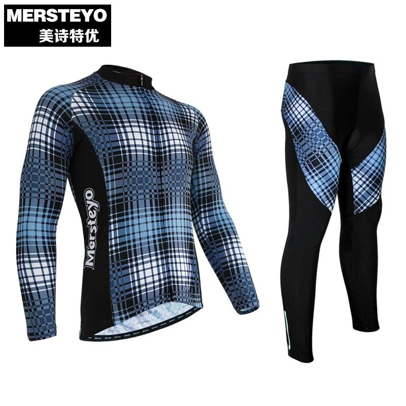 MERSTEYO Men Winter Windproof Outdoor Cycling Jersey Ropa Ciclismo Bike Bicycle Jacket +Long Pants Set CC0519