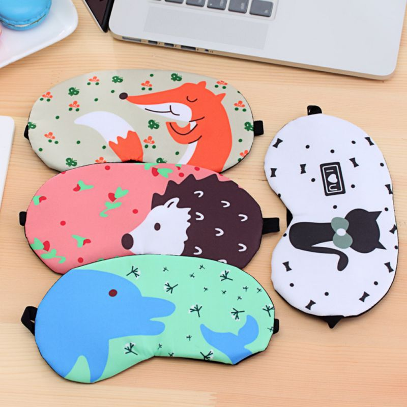 Relax Eye Sleeping Aid Blindfold Cover Eyeshade Eye Patch Cute Penguin/Bear/Monkey/Tower/Flamingos Sleeping Eye Mask