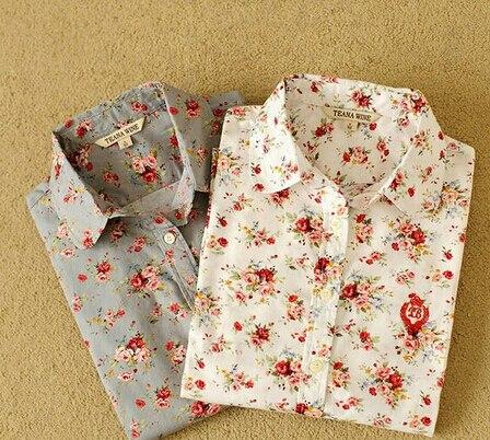 2016 100% Cotton High Quality Women Fashion Plaid Shirts Blouse British Style Foral Print Long-sleeve Shirts Sweet Flower Tops