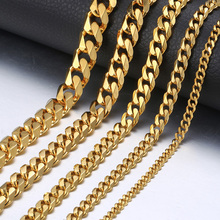 "Personalized Men's Hiphop Necklace Stainless Steel Cuban Link Chain Gold Black Silver Necklace for Men Jewelry Gift 18-36"" KNM08"