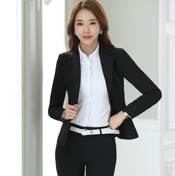 e456dd24e5 Women s Business Suits Formal Office pant Suits female Work wear 2 Piece  Sets Two Button Uniform Designs Blazer Suit Jacket Set