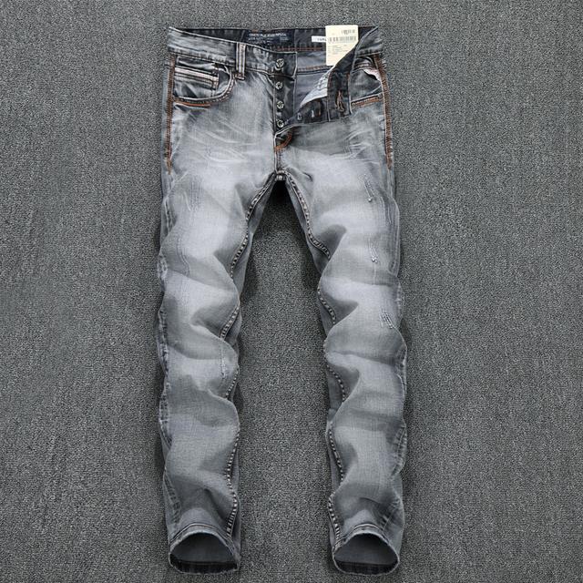 Nueva straight slim fit ripped jeans para hombres famosa marca de pantalones vaqueros 100% algodón al por mayor y al por menor, tamaño Grande 29-38,614