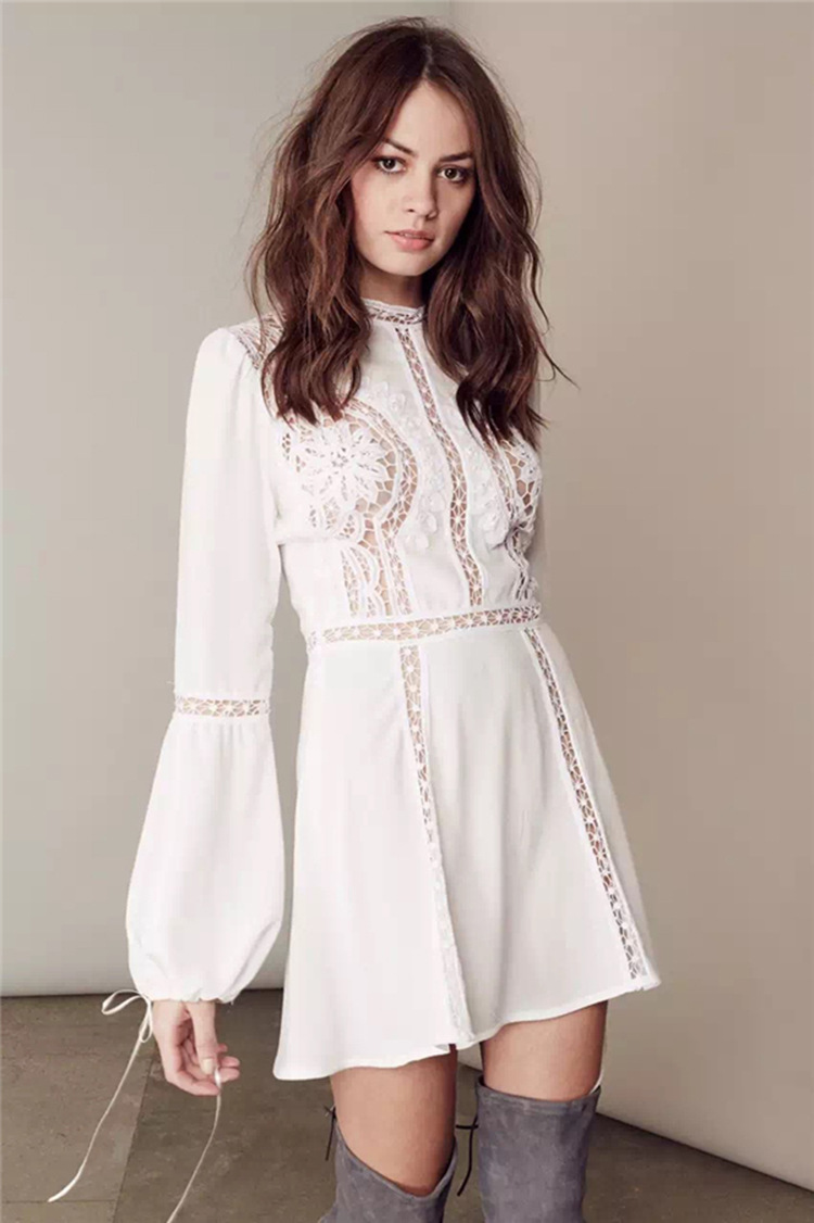 white boho dress sexy lace stitching summer dresses long