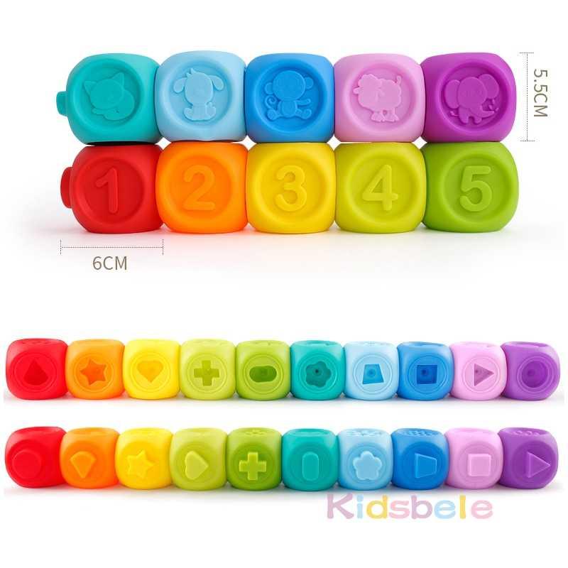 10 pces bebê agarrar bola 3d animais forma número toque macio borracha mordedor squeeze spray banho brinquedos para infantil educação precoce