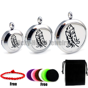 With chain gift Feather (20-30mm) Essential Oils Diffuser Locket Aromatherapy Locket Free Pads(China)