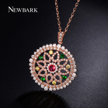 NEWBARK Vintage Boho Necklace Full Paved Round CZ Diamond Flower Hollowed-out Necklaces & Pendants Of Rose Gold Plated Jewelry