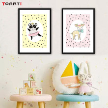 Nordic Style Canvas Art Painting Cartoon Animals Deer Mouse Wall Poster And Print  Pictures For Kids Room Nursery