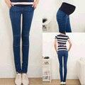 2015 новые симпатичные синий упрощенный дизайн беременных джинсы брюки для беременных подарок Большой размер