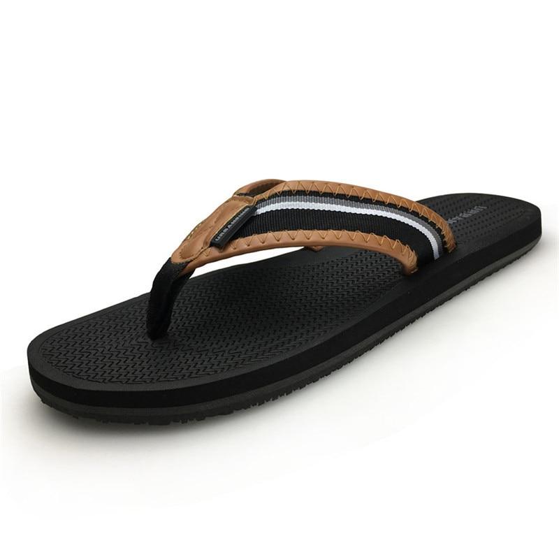 Pflichtbewusst Gestreiften Muster Männer Casual Flip-flops Big Size 41-46 Neue Ankunft Mann Leder Hausschuhe Sommer Schuhe Schwarz Blau Verschiedene Stile Schuhe Flip-flops