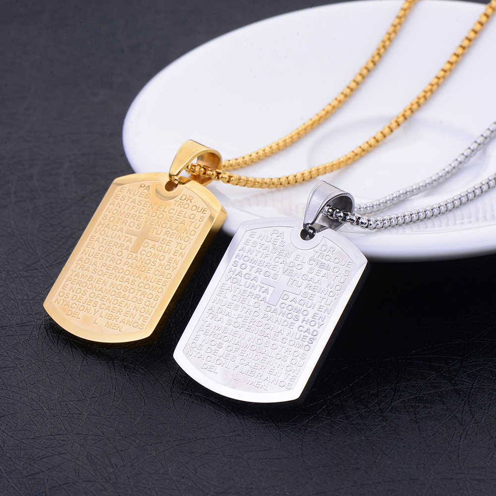 Hot Sale Titanium Steel Square Catholic Scripture Pendant Necklace Religious Jewelry for Man and Woman Christmas Gifts drop ship