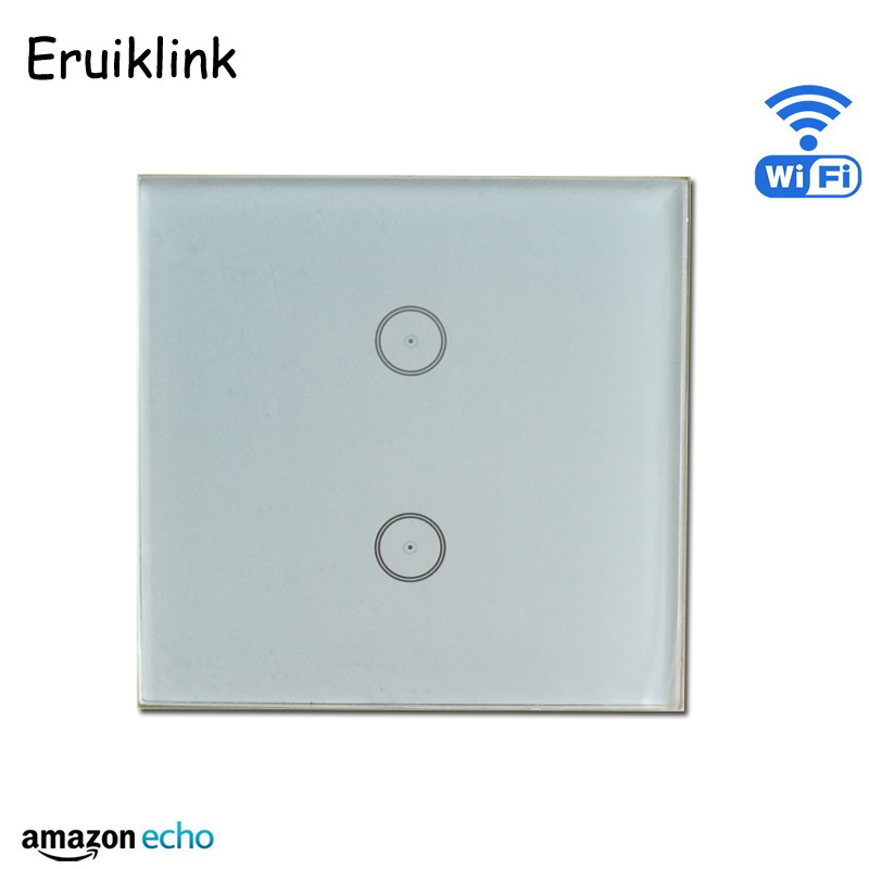 WIFI Wall Switch 110~240V Smart Wi-Fi Switch button Glass Panel 2gang 1way EU version Touch Light Switch work with Amazon Alexa eruiklink us standard smart wi fi switch button glass panel 1 gang touch light switch panel wifi alexa echo wall switch 110 240v