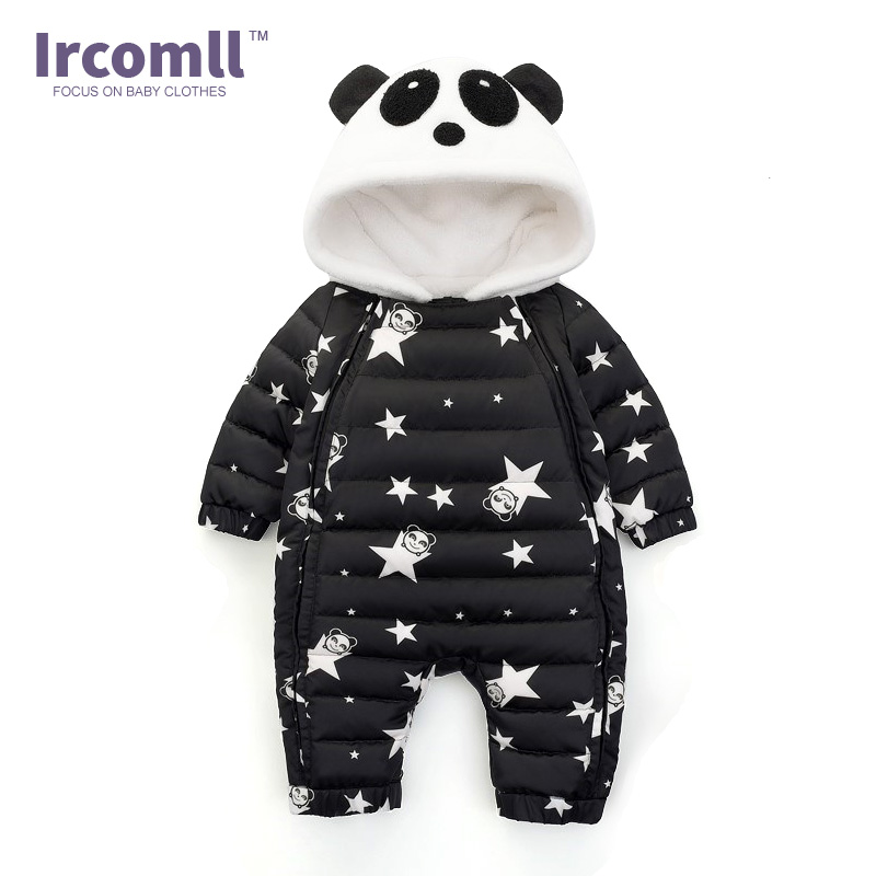 c89d83b5b Ircomll Cold Winter Graffiti Hooded Thick Rompers With Gloves Boots ...