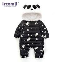 Ircomll New Winter Romper For Baby Panda Hooded Star Pattern Newborn Jumpsuit Snowsuit Infant Overcoat Baby