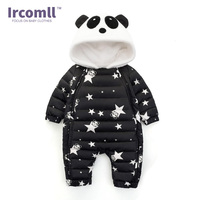 Ircomll New Winter Romper For Baby Panda Hooded Star Pattern Newborn Jumpsuit Snowsuit Infant Overcoat Baby