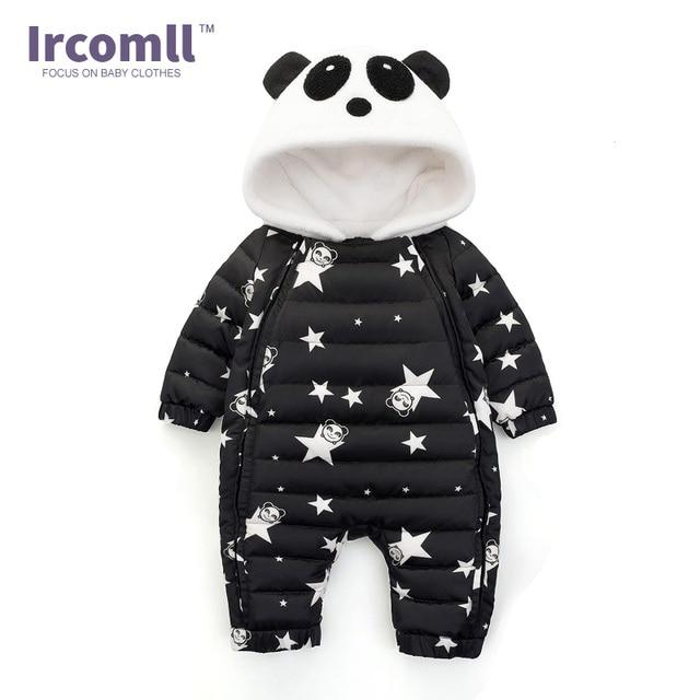 100% de alta calidad paquete elegante y resistente diseño distintivo Ircomll nuevo bebé de invierno mameluco Panda con capucha Star patrón mono  recién nacido traje nieve abrigo Bebé