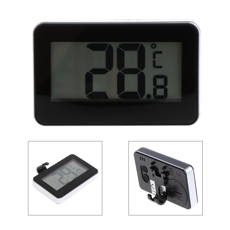 MEXI Fridge Refrigerator Thermometer Waterproof with Hanging Hook Stand LCD Display Screen Home Appliance Refrigerator (Black)