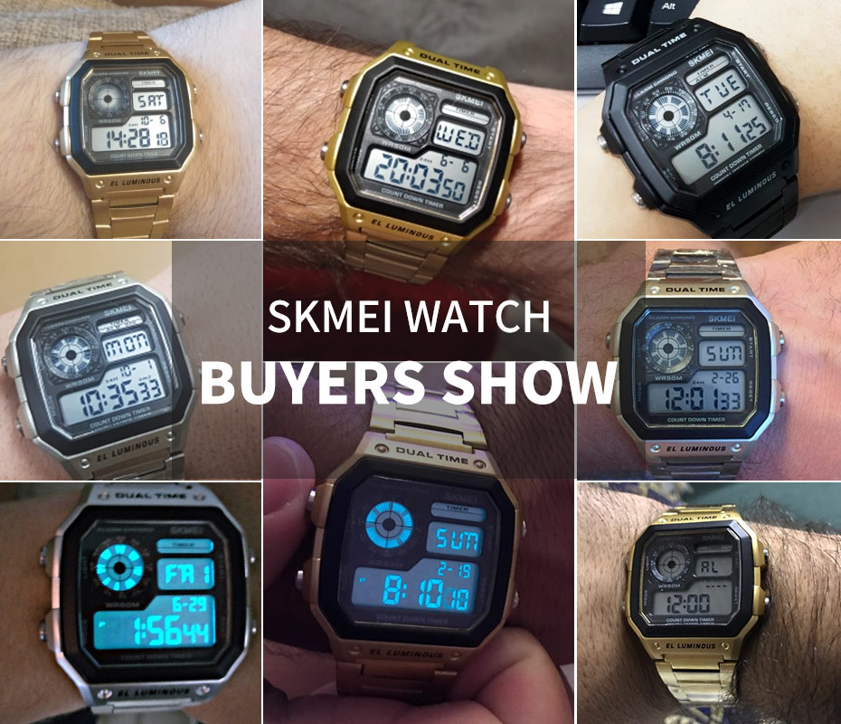 SKMEI Top Luxury Fashion Sport Watch Men 5Bar Waterproof Watches Stainless Steel Strap Digital Watch reloj hombre 1335