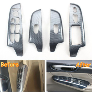 Car Styling Interior Armrest Window Lift Switch Button Panel Cover Trim Bezel For Honda Civic 8th Gen 2006-2011 RHD ABS