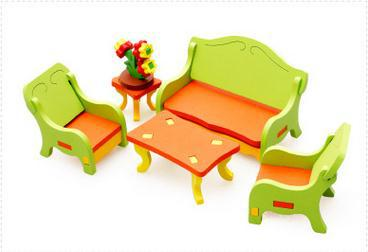 Free Delivery Factory Price Living Room Dressing Table 3D Assembling Furniture Toys For Children Scale Models Wooden