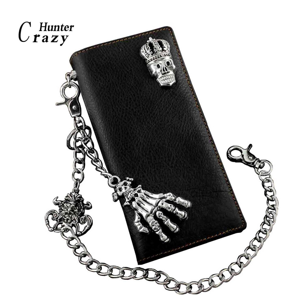 Mens Gothic Bifold Wallet Skull Cross Leather Biker Punk Wallet with Metal Chain