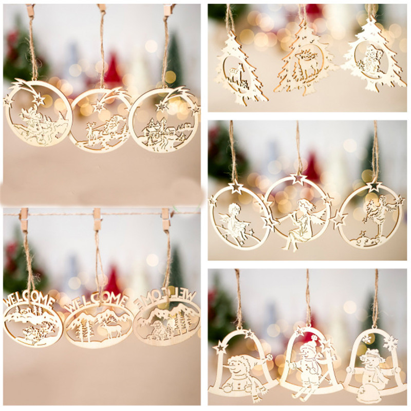 3pcs/lot Wooden Christmas Tree Pendants Hollow Angel Snowman Hanging Ornaments for Xmas Party DIY Decoration