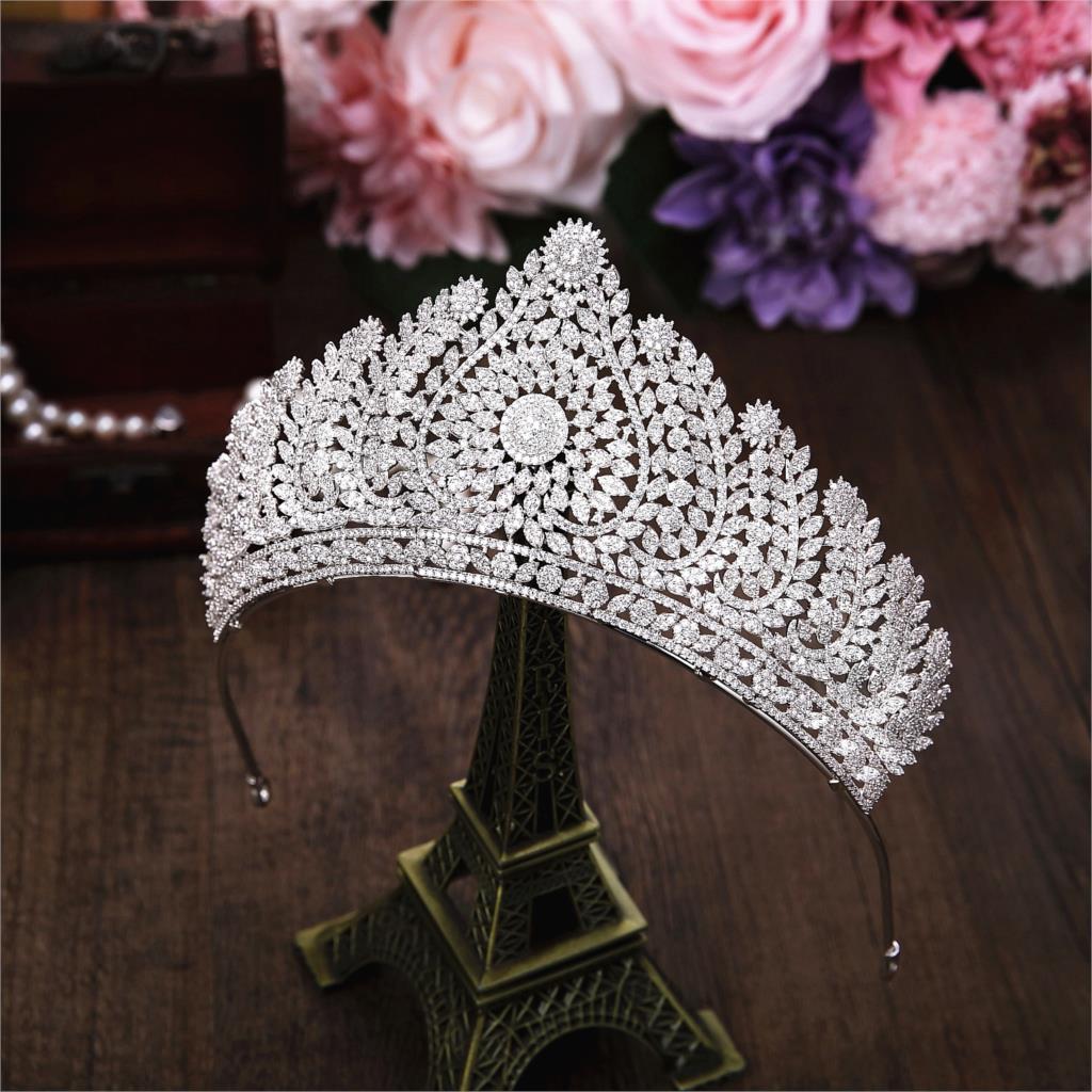 Micro Paved Full Cubic Zircon Tiara Luxury Zirconia Crown Wedding Hair Accessories Bride Large CZ Coroa Novia Diadem WIGO1223