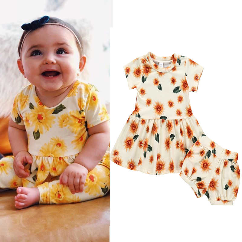 Baby Girl Clothes Set Summer Sunflower Dress+Shorts Two-piece Toddler Infant Girls Clothing Sets Floral Newborn Outfit 2pcs Set