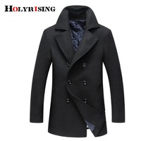 Autumn Winter Men Jacket Wooled Coats Slim Outdoors Outwear Double Button Overcoat Warm Wool Blends Mens