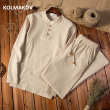 KOLMAKOV trousers 2019 spring Cotton linen shirts Long sleeves casual men size M 5XL