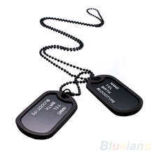 Military Army Style Black 2 Dog Tags Chain Mens Pendant Necklace Jewelry items 02IT 4B8Y