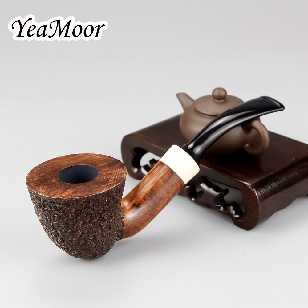 74 tools free White Ring Briar Wood Pipe 9mm Filter Free Type Smoking Pipe Handmade