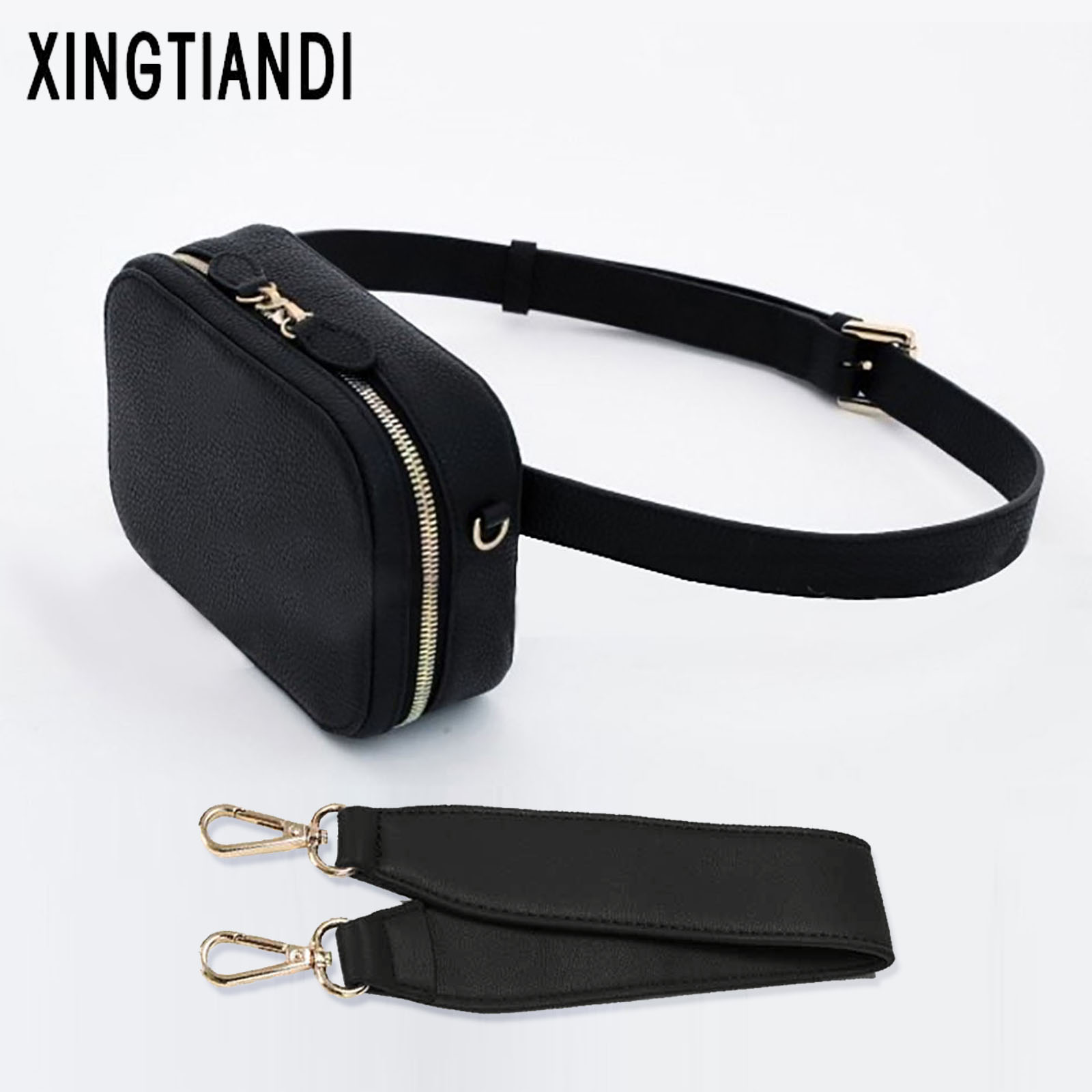 New Women Pu Leather Waist Bag Chest Handbag Round Belt Bag Korean Fashion Style
