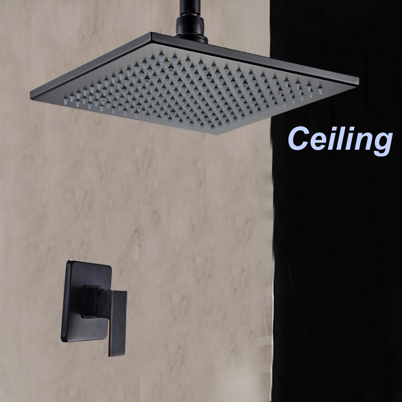 ceiling mounted oil rubbed bronze rain shower head single handle valve mixer tapchina