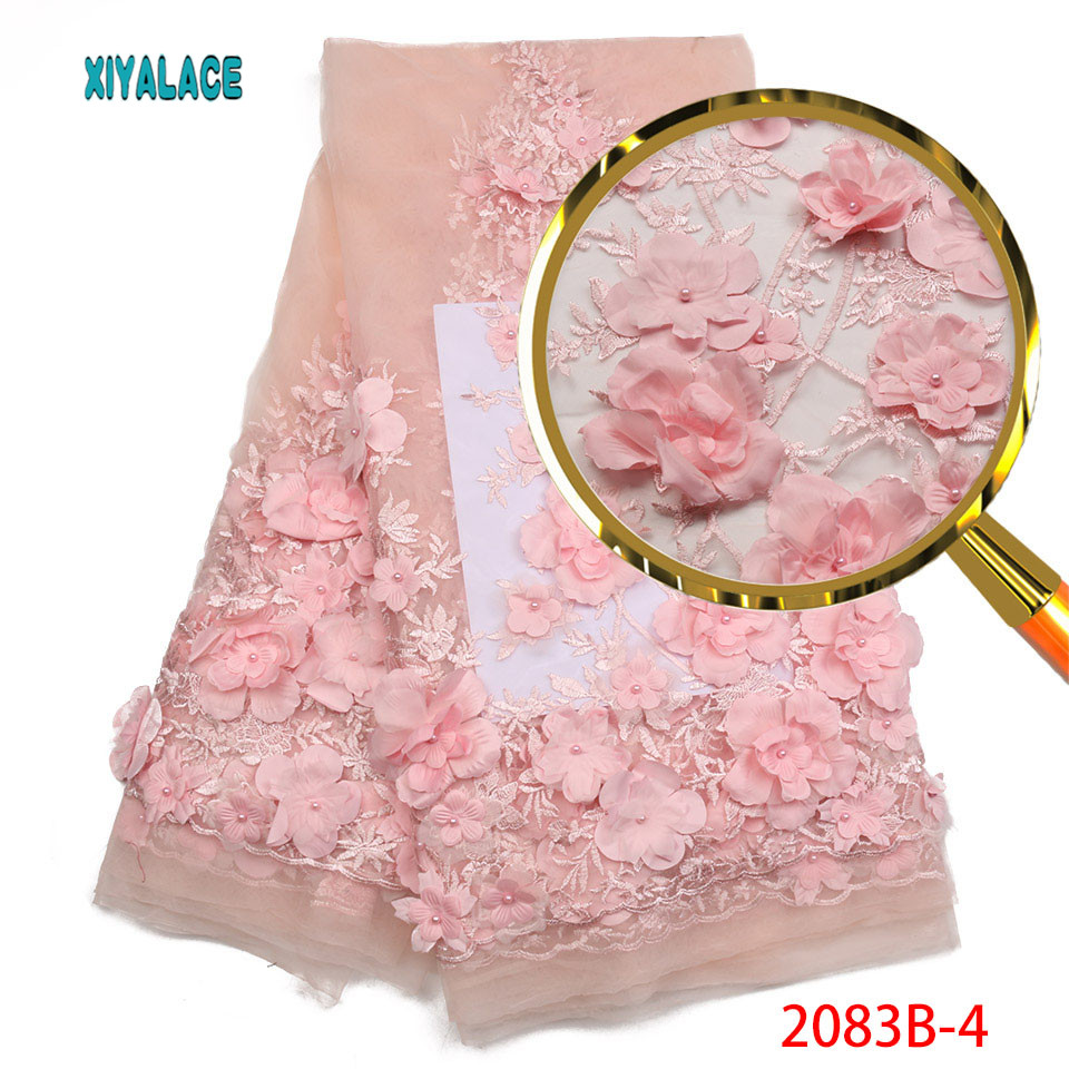 Bridal Lace Fabric High Quality Pink African 3d Lace Fabric Embdroidery French Nigerian Wedding Lace Fabric