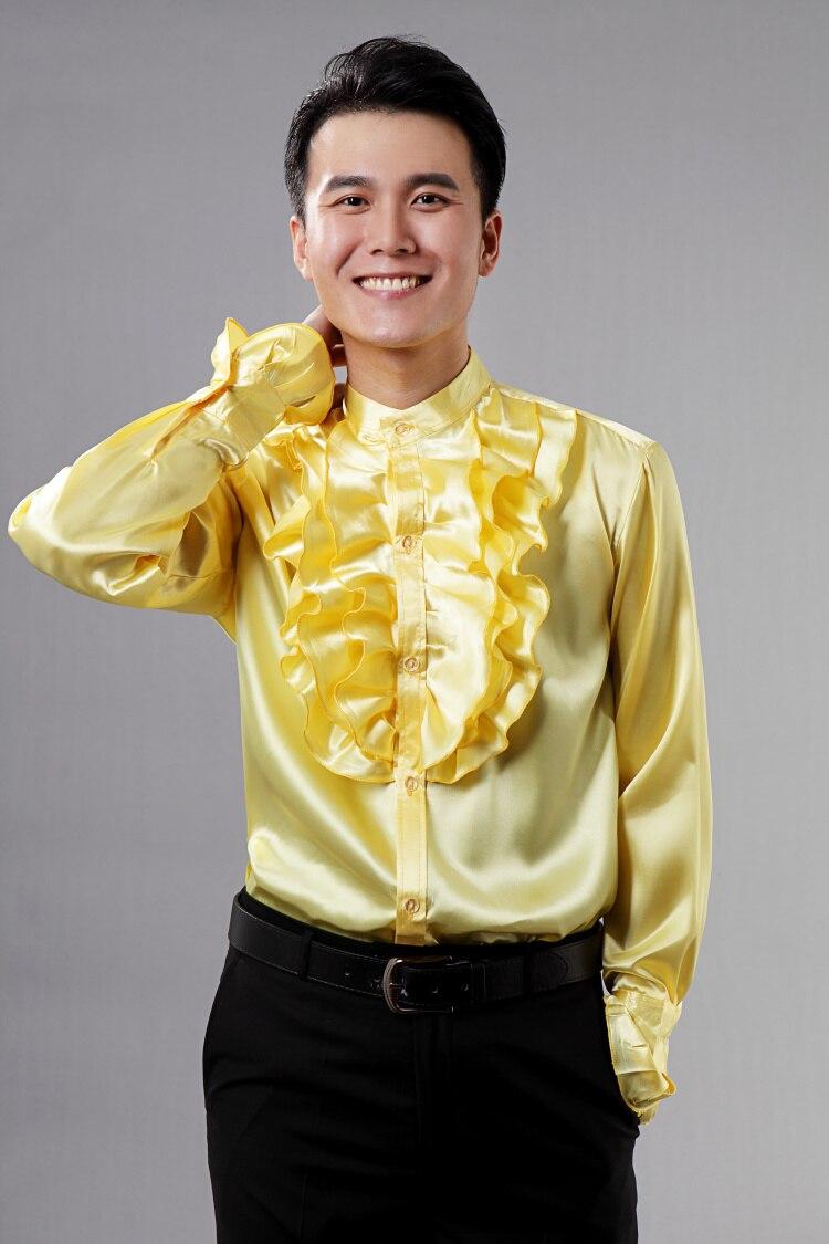 2017 Neue Männer Hemd Gelbe Weiße Langarm Prom Kleid Shirts Bräutigam Leistung Benutzerdefinierte Hochzeit Männer Party Hemd Camisa Masculina