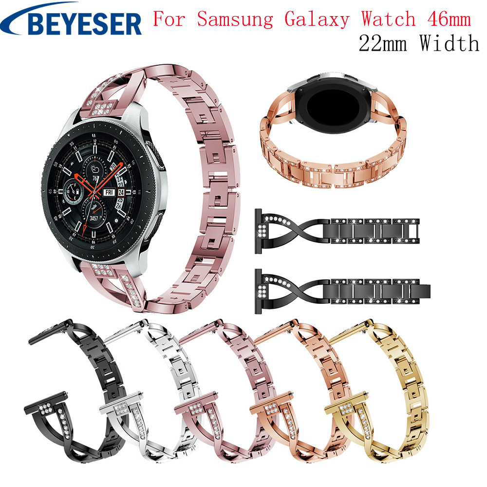 Rhinestones Stainless Steel Watch Band for Samsung Gear S3 Frontier Classic Strap for Samsung Galaxy Watch 46mm Smart Bracelet 22mm stainless steel watch bands for samsung galaxy 46mm bracelet strap for samsung gear s3 classic frontier sport band