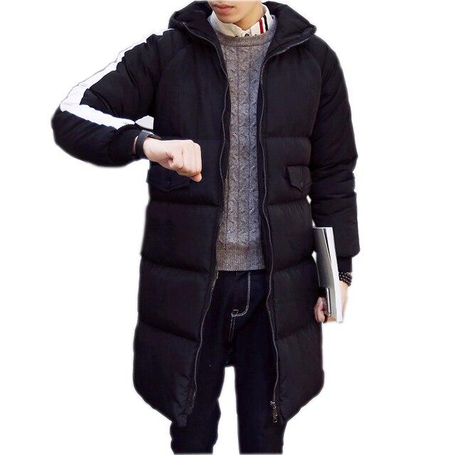 2016 Men Warm Jacket New Men Winter Parka Man Long Black Thick Casual Hooded Coat Male Jackets Overcoat Plus size M-3XL