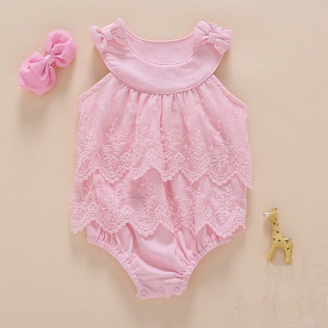 58a937206a6e Baby Girls Sweet Sleeveless Bodysuit Hairband Newborn Princess ...