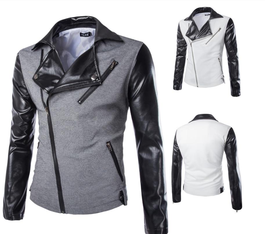 ZOGAA nouveau cuir synthétique polyuréthane pour hommes croisé épissure petits costumes populaire noir veste à glissière noir blanc manteau Punk Style vestes