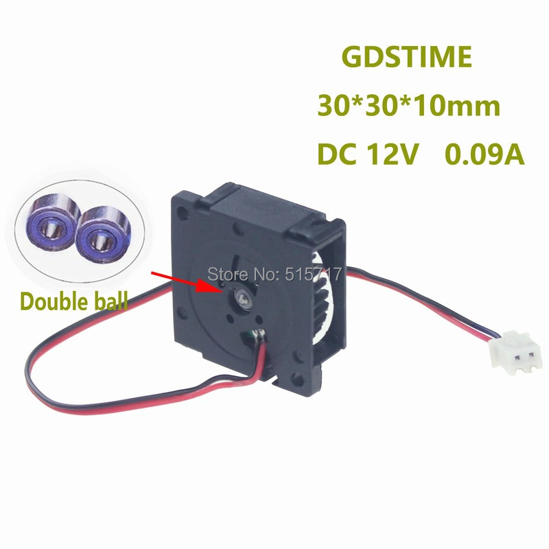 Free Shipping Ball bearing 5Pcs DC12V  Blower Fan Cooler 3010 Gdstime 30x30x10mm 30mm 3cm small cooling 75mmx30mm dc 12v 0 24a 2 pin computer pc sleeve bearing blower cooling fan 7530 r179t drop shipping