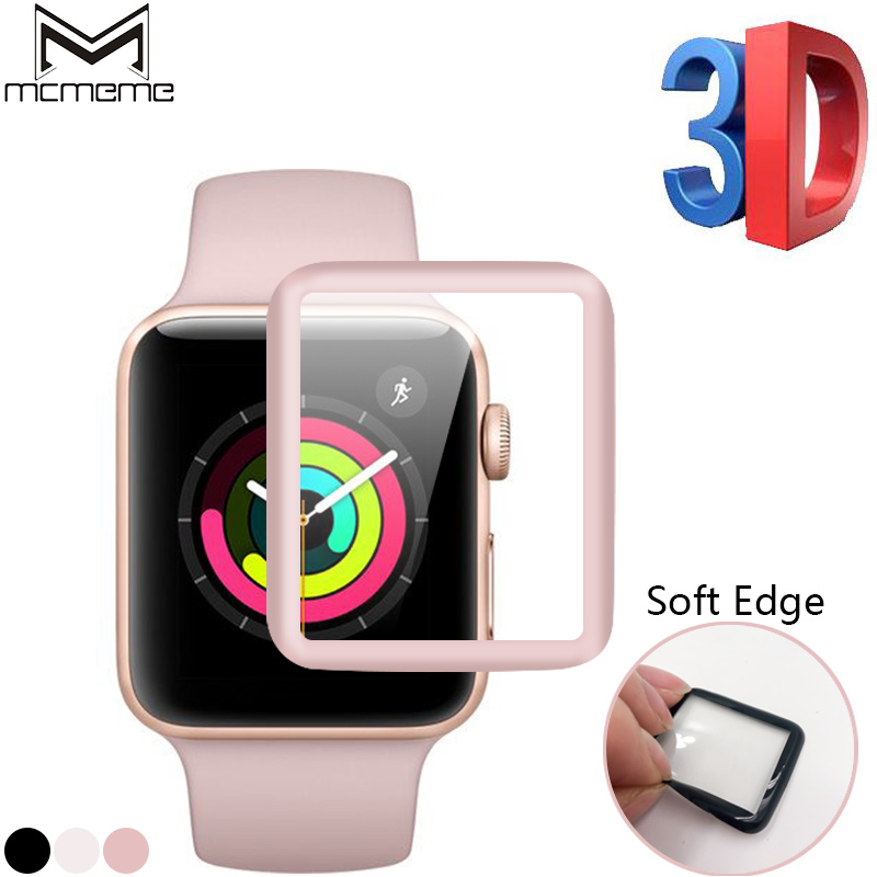 MCMEME For iWatch Screen Protector Film Full Cover 3D Curved Soft Edge Tempered Glass For