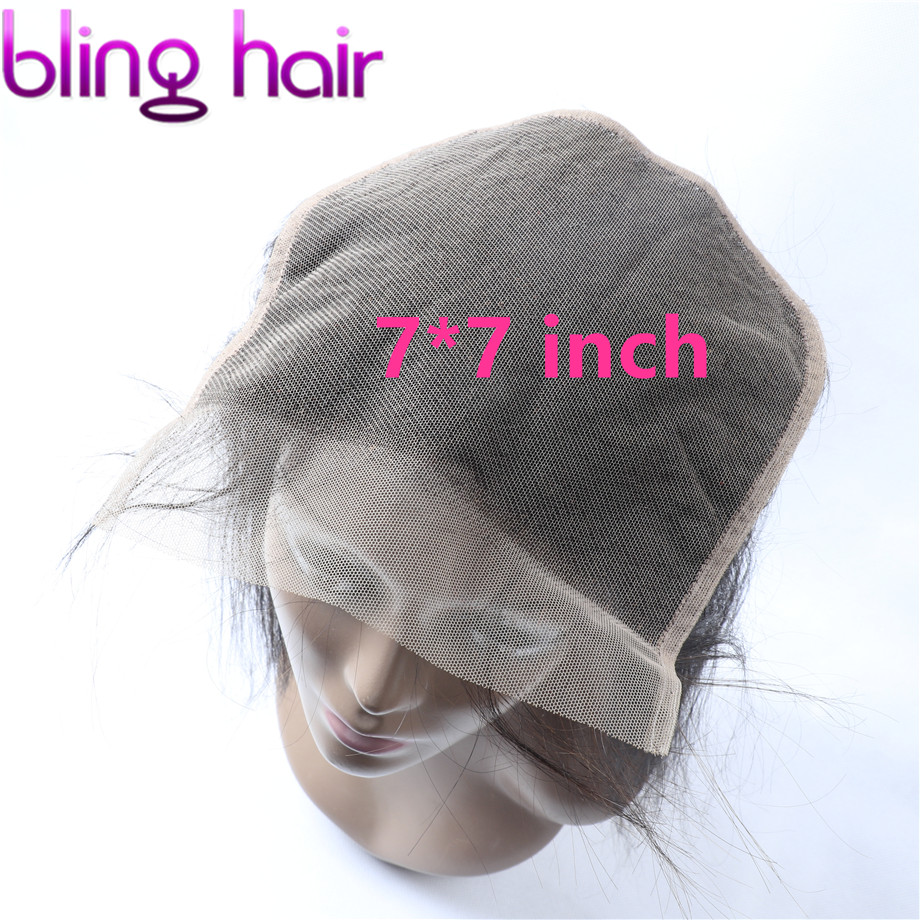 Bling Hair 7x7 Lace Closure Peruvian Straight 100% Remy Human Hair Closure Free/Middle/Three Part With Baby Hair Natural Color